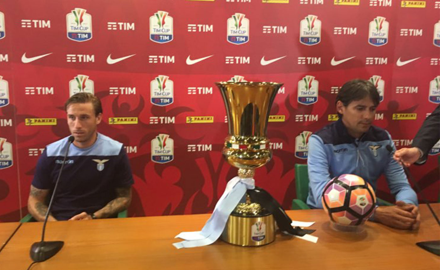 Biglia e Inzaghi per la Ss Lazio in conferenza per la Coppa Italia