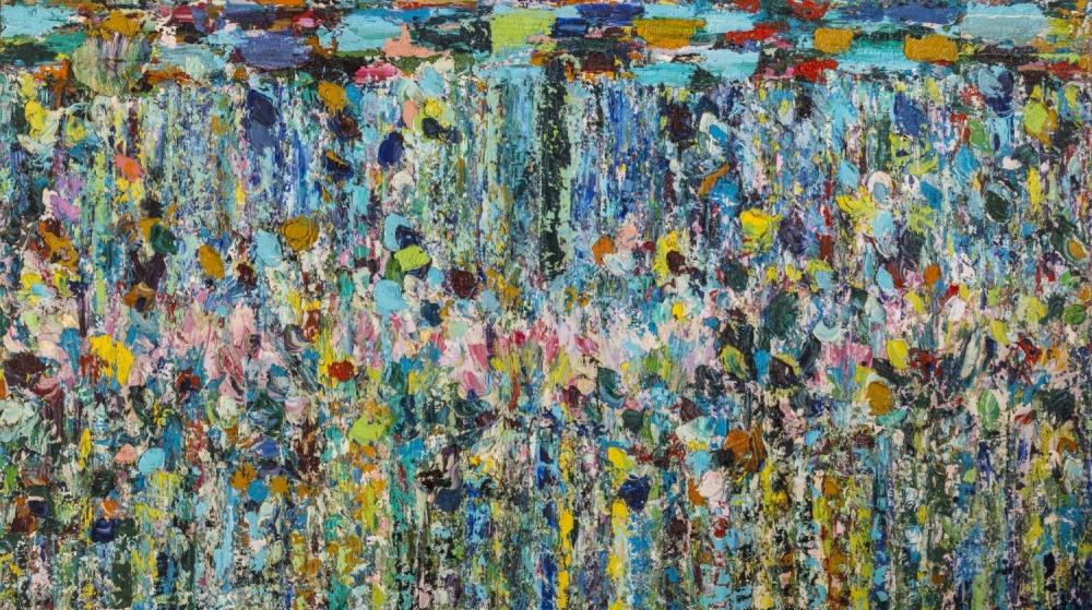 Giancarlo Limoni, Il grande stagno, 1993-1994, olio su tela, cm 196x346, collezione De Filippo, Bari